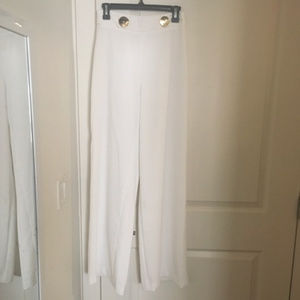 Zara white wide leg pants with gold buttons